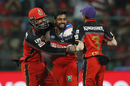 Iqbal Abdulla is mobbed by his team-mates after taking a wicket, Gujarat Lions v Royal Challengers Bangalore, IPL 2016, Qualifier 1, Bangalore, May 24, 2016