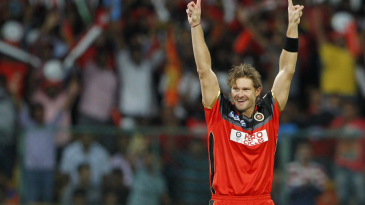 Shane Watson took 4 for 29, including two in two balls