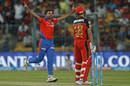 Dhawal Kulkarni rejoices after dismissing Virat Kohli for a duck, Gujarat Lions v Royal Challengers Bangalore, IPL 2016, Qualifier 1, Bangalore, May 24, 2016