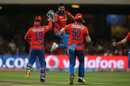Ravindra Jadeja leaps for joy after getting Shane Watson out, Gujarat Lions v Royal Challengers Bangalore, IPL 2016, Qualifier 1, Bangalore, May 24, 2016