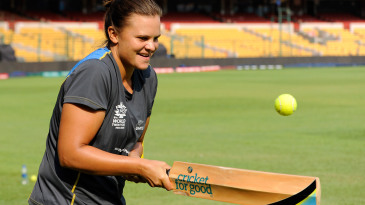 Suzie Bates tries to bounce the ball along the edge of the bat at a UNICEF event in Bangalore