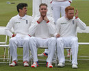 Alastair Cook, Stuart Broad and Jonny Bairstow take their places for the team photo, Chester-le-Street, May 25, 2016