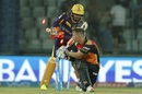 David Warner is cleaned up after failing to make contact on the sweep, Sunrisers Hyderabad v Kolkata Knight Riders, IPL 2016, Delhi, May 25, 2016