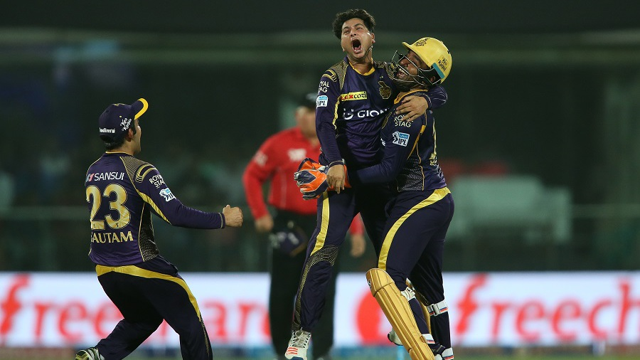 Kuldeep Yadav is ecstatic after picking up one of his three wickets