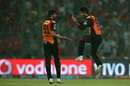 Barinder Sran and Deepak Hooda celebrate the wicket of Robin Uthappa, Sunrisers Hyderabad v Kolkata Knight Riders, IPL 2016, Delhi, May 25, 2016