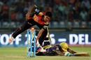 R Sathish puts in a dive to make his ground, Sunrisers Hyderabad v Kolkata Knight Riders, IPL 2016, Delhi, May 25, 2016