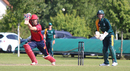 Ben Stevens drives through cover on his way to 67 not out, Jersey v Guernsey, ICC World Cricket League Division Five, St Martin, May 25, 2016