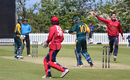 Anthony Hawkins-Kay celebrates the wicket of David Hooper, Jersey v Guernsey, ICC World Cricket League Division Five, St Martin, May 25, 2016