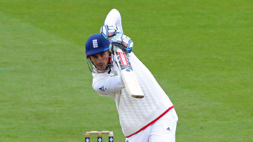 Alex Hales plays a compact drive down the ground