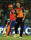 Trent Boult is pumped after dismissing Suresh Raina cheaply, Sunrisers Hyderabad v Gujarat Lions, IPL 2016, Delhi, May 27, 2016