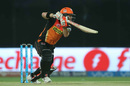 David Warner drives through the covers, Sunrisers Hyderabad v Gujarat Lions, IPL 2016, Delhi, May 27, 2016