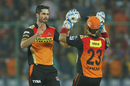 Ben Cutting is congratulated on dismissing Aaron Finch, Sunrisers Hyderabad v Gujarat Lions, IPL 2016, Delhi, May 27, 2016