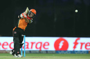 David Warner drills one down the ground, Sunrisers Hyderabad v Gujarat Lions, IPL 2016, Delhi, May 27, 2016