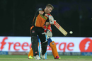 David Warner stands tall for a cut, Sunrisers Hyderabad v Gujarat Lions, IPL 2016, Delhi, May 27, 2016