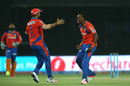 Dwayne Bravo is ecstatic after dismissing Naman Ojha, Sunrisers Hyderabad v Gujarat Lions, IPL 2016, Delhi, May 27, 2016