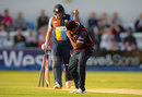 Seekkuge Prasanna bows after picking up the first of his two wickets, Northamptonshire v Derbyshire, NatWest T20 Blast, North Group, Wantage Road, May 27, 2016