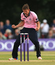 Harry Podmore celebrates a wicket, Middlesex v Hampshire, NatWest T20 Blast, South Group, Uxbridge, May 27, 2016