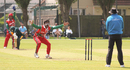 Aamir Kaleem roars an appeal for the wicket of Matthew Stokes, Guernsey v Oman, ICC World Cricket League Division Five, St Clement, May 27, 2016