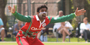 Aamir Kaleem howls an appeal for the wicket of Matthew Stokes, Guernsey v Oman, ICC World Cricket League Division Five, St Clement, May 27, 2016