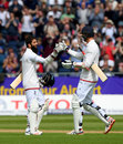 Moeen Ali celebrates his second Test century with Steven Finn, England v Sri Lanka, 2nd Test, Chester-le-Street, 2nd day, May 28, 2016