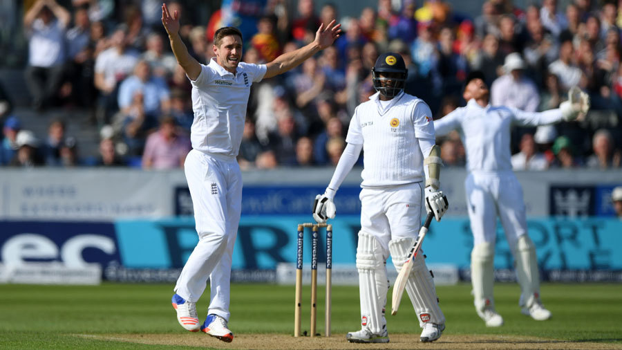 Chris Woakes induced a thin edge behind from Angelo Mathews