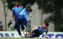 Taskin Ahmed fails to reach the crease as Farhad Reza breaks the stumps - but it was given not out, Abahani Limited v Prime Doleshwar Sporting Club, BKSP-3, Savar, May 28, 2016