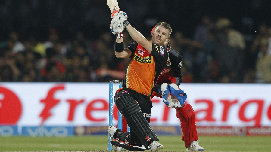 David Warner targets the leg-side boundary