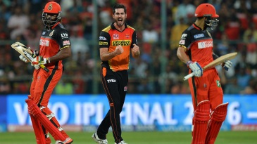 Ben Cutting celebrates after dismissing Chris Gayle