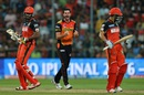 Ben Cutting celebrates after dismissing Chris Gayle, Royal Challengers Bangalore v Sunrisers Hyderabad, IPL 2016, final, Bangalore, May 29, 2016