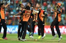 Sunrisers Hyderabad celebrate after clinching their maiden IPL title, Royal Challengers Bangalore v Sunrisers Hyderabad, IPL 2016, final, Bangalore, May 29, 2016