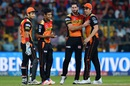 Naman Ojha, Mustafizur Rahman, Ben Cutting and Moises Henriques celebrate a wicket, Royal Challengers Bangalore v Sunrisers Hyderabad, IPL 2016, final, Bangalore, May 29, 2016