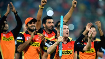 Sunrisers Hyderabad celebrate after winning the IPL