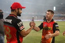 Virat Kohli and David Warner greet each other after the match, Royal Challengers Bangalore v Sunrisers Hyderabad, IPL 2016, final, Bangalore, May 29, 2016