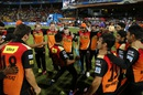 Mustafizur Rahman shows off his dance moves as his team-mates cheer him on, Royal Challengers Bangalore v Sunrisers Hyderabad, IPL 2016, final, Bangalore, May 29, 2016