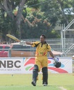PNG opener Vani Morea celebrates his century, Papaua New Guinea v Kenya, World Cricket League Championship, Port Moresby, May 30, 2016