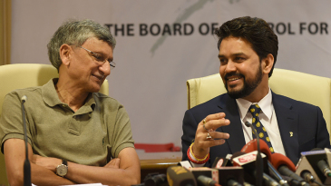 BCCI secretary Ajay Shirke and president Anurag Thakur speak to the press