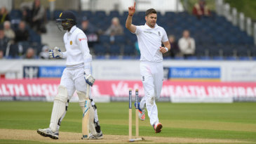 James Anderson completed his five-wicket haul by bowling Shaminda Eranga for 1