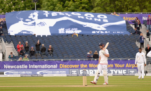 A banner in the crowd was unfurled to acknowledge Alastair Cook reaching 10,000 Test runs, England v Sri Lanka, 2nd Test, Chester-le-Street, 4th day, May 30, 2016