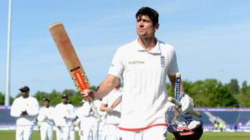 Alastair Cook salutes the crowd after victory at Chester-le-Street