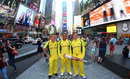 Adam Zampa, Usman Khawaja and Steven Smith pose amid New York's bustling backdrop, New York, May 28, 2016