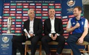 David Richardson, Steve Elworthy and Eoin Morgan address the media during the Champions Trophy 2017 launch, The Oval, June 1, 2016