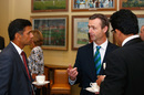 John Stephenson chats with Rahul Dravid and Anil Kumble during the ICC Cricket Committee Meeting, London, June 1, 2016