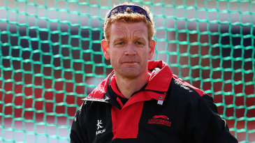 Leicestershire coach Andrew McDonald at the nets