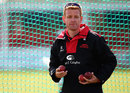 Leicestershire coach Andrew McDonald at the nets, Leicester, April 12, 2015