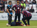 Olly Stone went down with an injury, Northamptonshire v Worcestershire, NatWest T20 Blast, North Group, Wantage Road, June 3, 2016