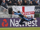 Chesney Hughes dives full-length for a catch, Derbyshire v Leicestershire, NatWest T20 Blast, North Group, Derby, June 3, 2016