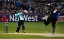 Spot the bat: Dwayne Bravo swings so hard he loses grip, Sussex v Surrey, NatWest T20 Blast, South Group, Hove, June 3, 2016