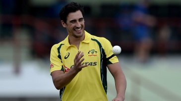 He's back: Mitchell Starc struck in the first over on his return