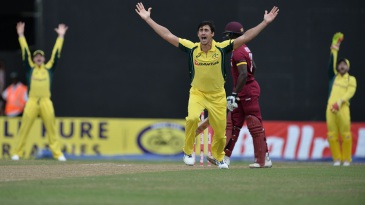 Mitchell Starc roars an appeal for lbw