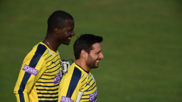 Darren Sammy and Shahid Afridi in action for Hampshire in the NatWest T20 Blast